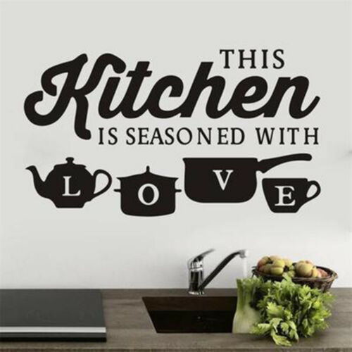 Kitchen With Love Funny Quote Wall Stickers Art Dining Room Removable Decals UK