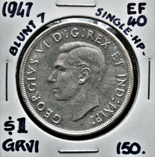 1947 B7 1xHP Canada $1 Silver Dollar EF-40