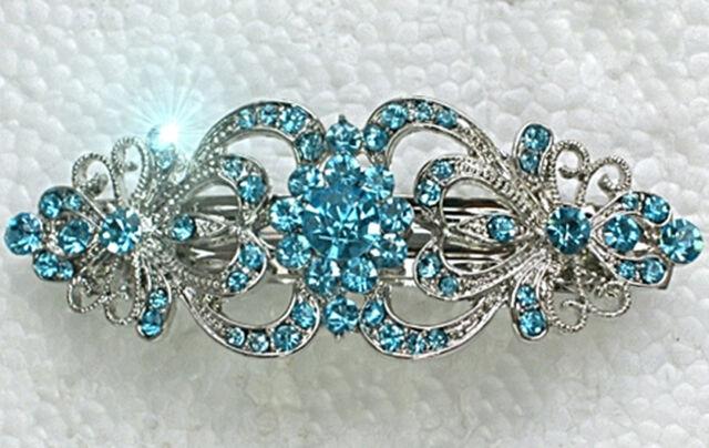 Edle Haarspange mit Türkis-Hellblauen Swarovski Kristallen NEU +++ Mehr im Shop!