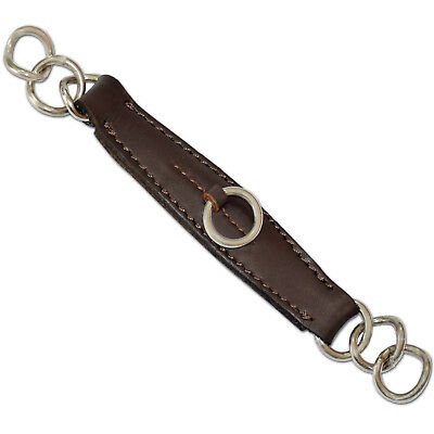 Brown Leather Curb Chain Strap Cowhide Leather /& Stainless Steel Rings