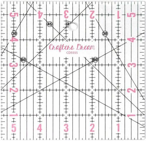 """Crafters sueño Transparente Quilting Patchwork Regla Plantilla de 5.5/"""" X 5.5/"""" CD5555"""
