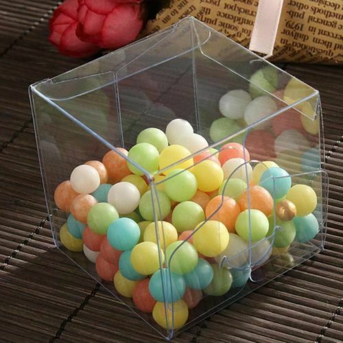 Clear PVC Plastic Square Chocolate Candy Gift Boxes Wedding Party Favor Pack Box