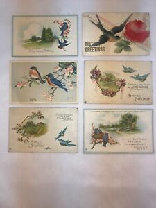 Vtg-Lot-of-6-1907-20-039-s-BLUEBIRD-Birthday-Wishes-Easter-Greetings-Postcards
