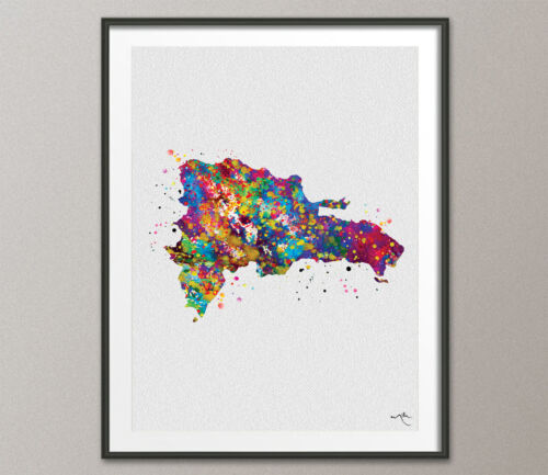 Dominican Republic Map Watercolor Print Wall Art Wedding Gift Travel Art Poster