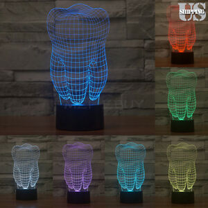 Tooth 3D USB illusion Night Light 7 Color Change LED Desk Table Light Lamp