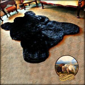Black Bear Area Rug, Faux Fur Carpet