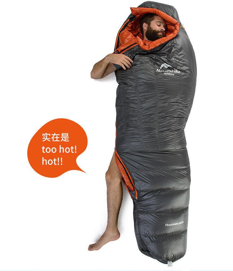 bianca Duck Down Super Light campeggio Hire all'aperto Mummy Thickening Sleeping borsa