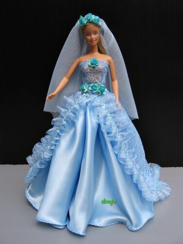 "Barbie Doll 12/"" Clothing Wedding Gown Party Blue Dresses Costume Handmade Outfit"