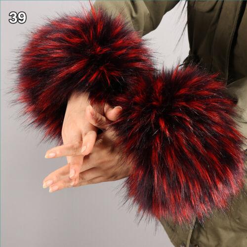 Fashion Ladies Windproof Plush Cuff Faux Fur Oversleeve Wrist Warmer Wristband