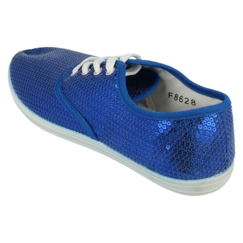 Ladies F8628 Blue sequin lace up shoes   by SPOT ON   £2.99