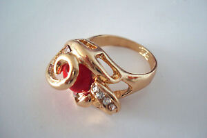 Gold-Tone-Ladies-Red-Enamel-and-Clear-Diamante-Ornate-Ring-Size-U