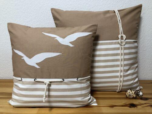 beige//blanc 50x50cm. Taie d/'oreiller Mouettes Style Maison de campagne maritime Coussin Housse