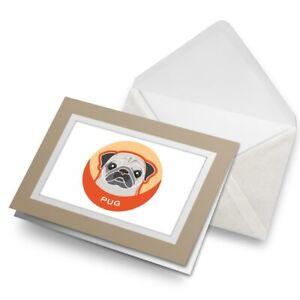 Greetings-Card-Biege-Tan-Pug-Dog-Animal-Pet-Puppy-5993