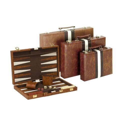 "10/""x14.75/"" Backgammon Game Set Brown White Leather Portable Travel Folding Case"