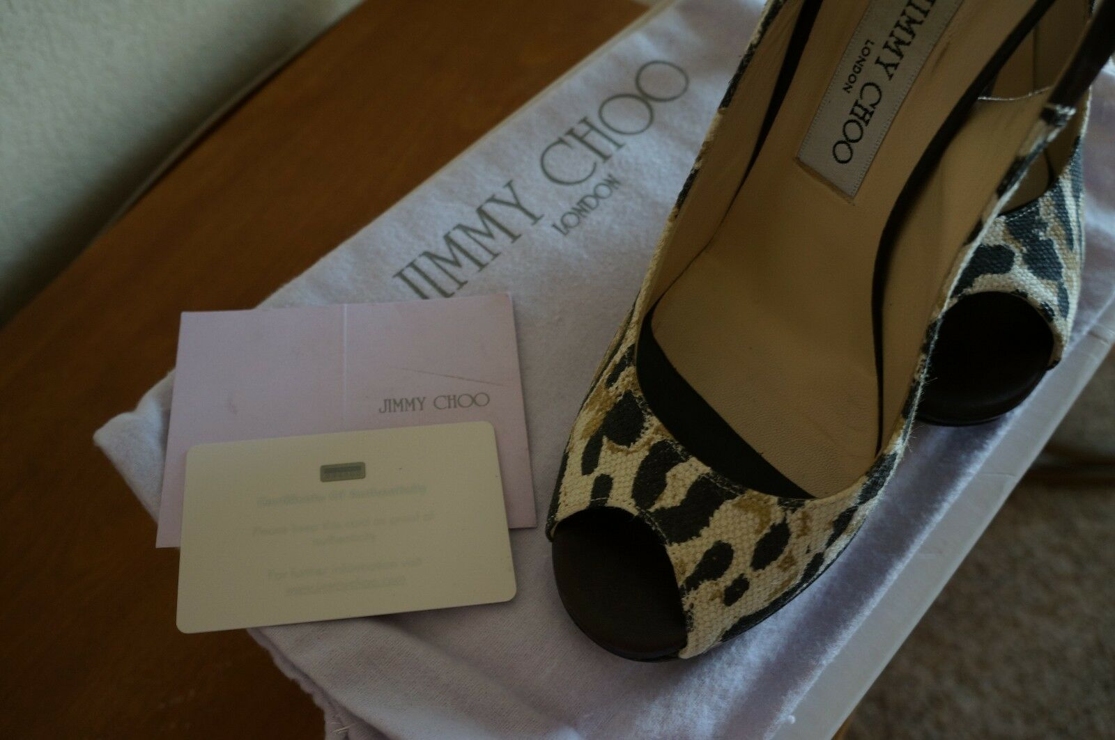 Jimmy Choo Canvas Leopard Peep Toe 38.5 Platform Slingback Pumps Sandales 38.5 Toe US 7.5 9045a6