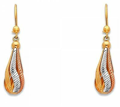 14K Real Yellow White Rose 3 Color Gold Tear Drop Dangle Hanging Earrings