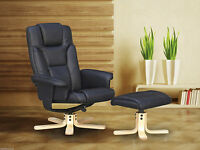 Boston Swivel Recliner Chair & Footstool - Black Or Brown - Faux Leather