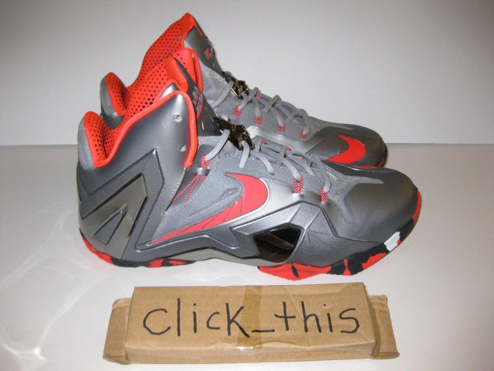 e70803761e76c Nike Lebron XI XI XI 11 Elite TEAM Wolf Grey Laser Crimson Black sz 10  642846-001 c6931a