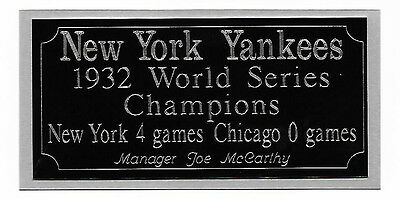 New York Yankees 1932 World Series Champions Engraving Nameplate Sports Mem, Cards & Fan Shop