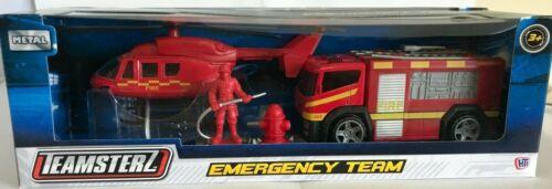DIE CASTA metallo delle squadre di emergenza Elicottero CAMION POLIZIA SQUADRA SOCCORSO AMBULANZA POMPIERI giocattolo
