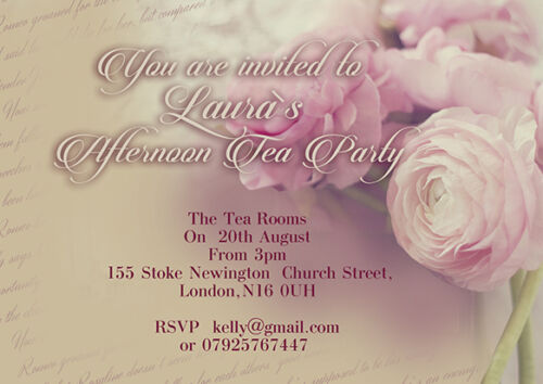 10 x Personalised Afternoon Tea Party Birthday Invitations and Thank you cards