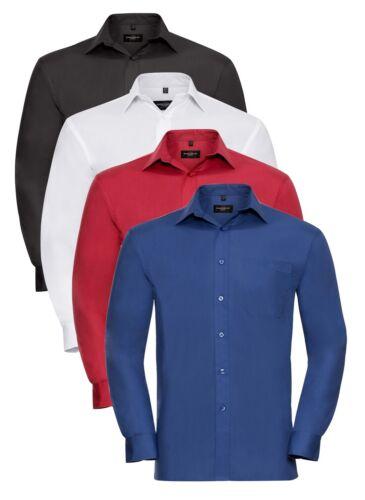 Mens Mans BLACK WHITE BLUE or RED Easy Care Long Sleeve Cotton Poplin Shirt