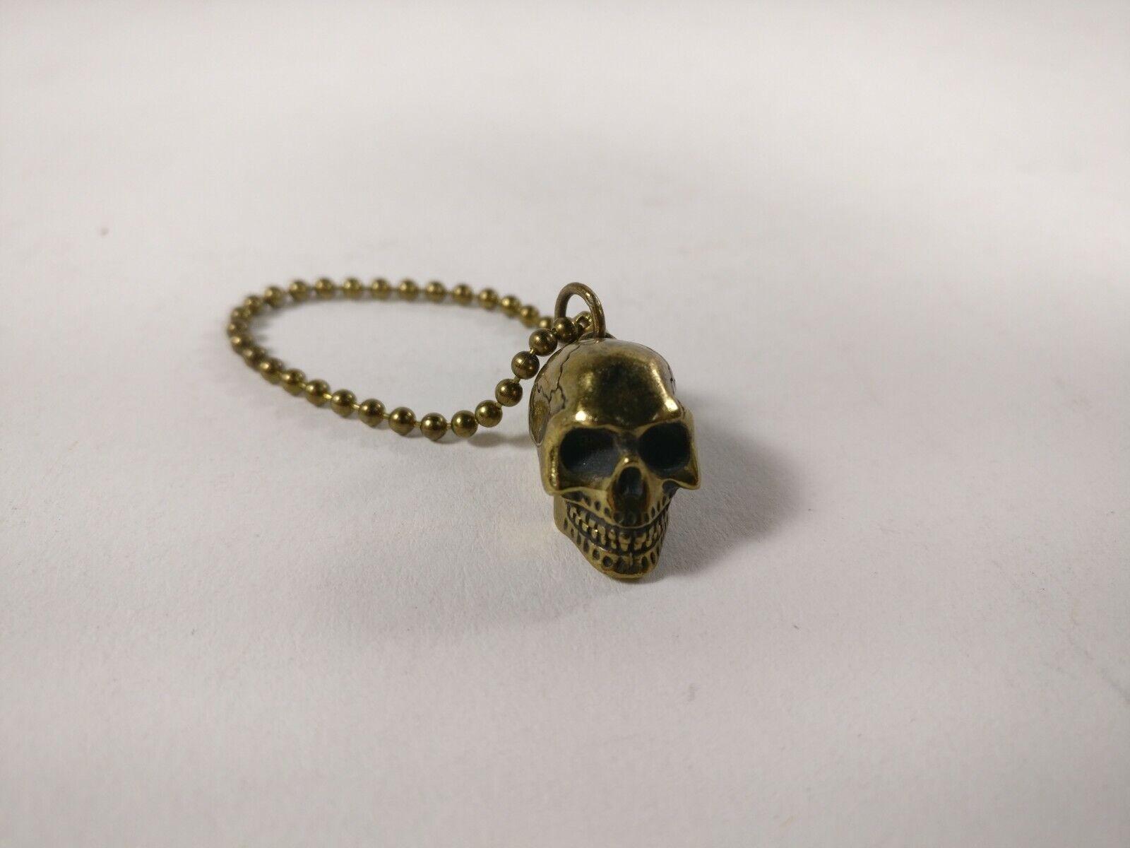Secret Base Chaos Brass Skull Keychain 3 4