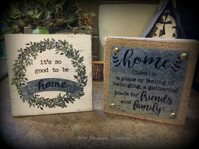 New Rustic Farmhouse Primitive LOVE BEGINS AT HOME Black Star Wood Sign Plaque