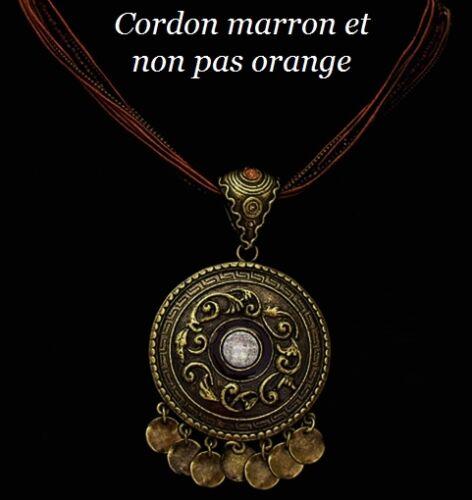 Collier Ethnique bronze perle de rocaille strass marron Bijou fantaisie cordon