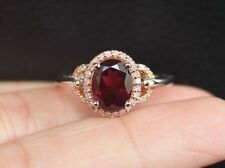 New 14K S7 Oval Natural Garnet & Diamond Halo White / Rose Gold Engagement Ring