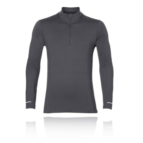 Asics Mens Long Sleeve 1//2 Zip Jersey Grey Sports Gym Running Half Breathable