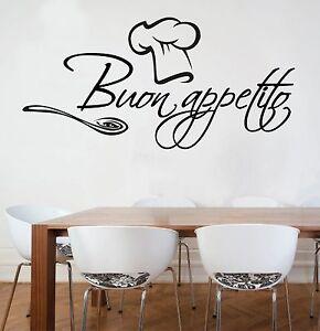 Stickers Murali Frasi.Wall Stickers Murali Buon Appetito Cucina Cibo Muro Adesivo
