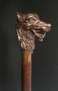 Handmade-Walking-Stick-Wolf-Head-Copper-Antique-Metal-Handle-Wooden-Vintage-Cane