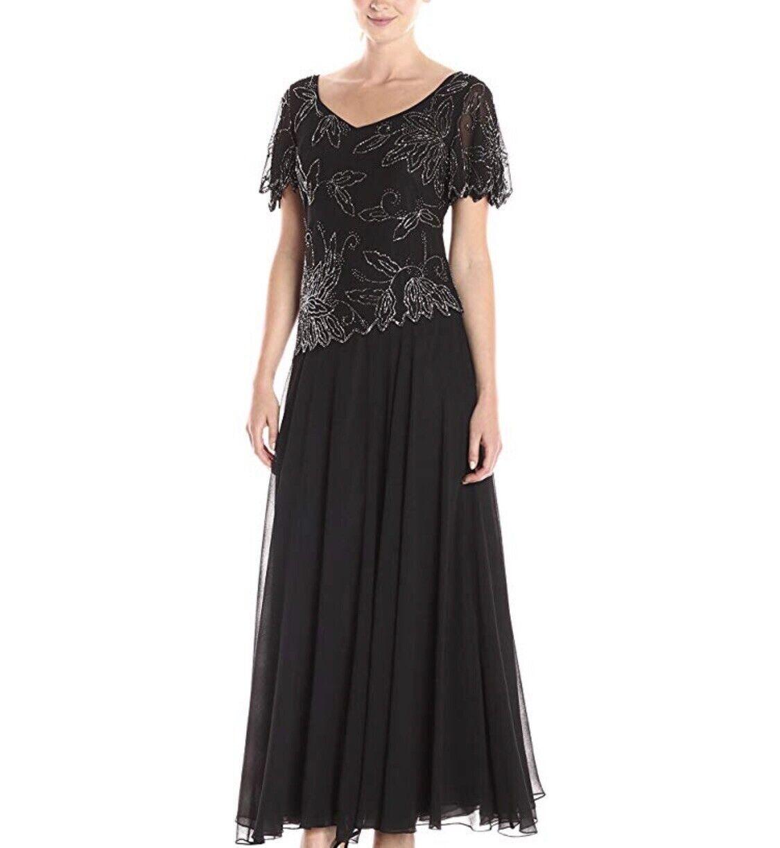 JKARA Women's 10 Long Black Beaded Dress Gown Evening Formal Nordstrom NEW