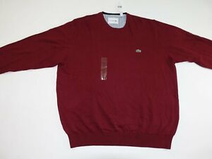 Lacoste-Men-039-s-Crewneck-Sweater-Size-8-3XL-NWT-Maroon-Red-Pullover-100-Cotton
