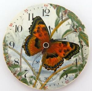 STUNNING-CUSTOM-MADE-PAINTED-ELGIN-POCKET-WATCH-DIAL-BUTTERFLY-amp-FLORA