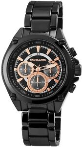Excellanc-Herrenuhr-Schwarz-Analog-Chrono-Look-Metall-Armbanduhr-X2800047005