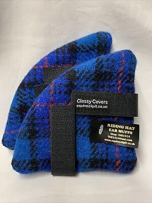 HARRIS Tweed Riding Hat Ear Muffs//warmers Royal blue with Black Fleece Backs