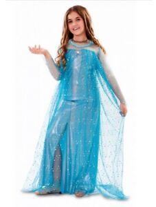 Costume-Carnevale-PRINCIPESSA-DEL-GHIACCIO-abito-vestito-Bambina-4-6-anni