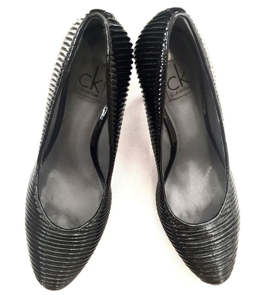 CK CALVIN KLEIN Damen Schuhe Pumps Leder schwarz schwarz Gr 36 NEU BOX