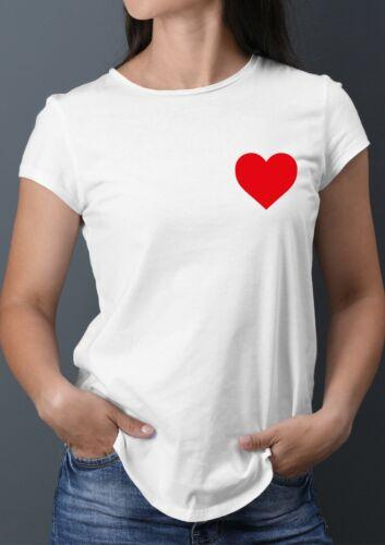 Pocket Heart Shape Love Red Heart White T-Shirt
