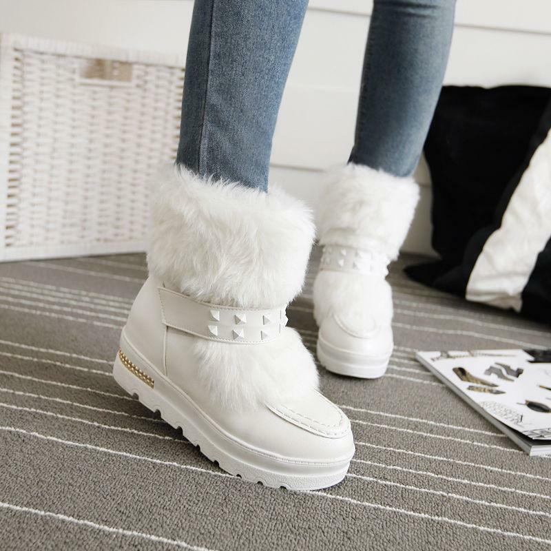 Womens Winter Fur trim Furry Snow Rivet Round Toe wedge heel Ankle Boots shoes