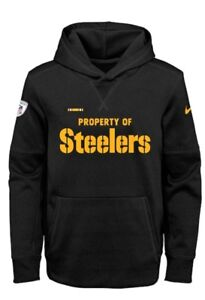 on sale 3279b 3381f Details about NIKE PITTSBURGH STEELERS NFL YOUTH PROPERTY OF THERMA HOODIE  SWEATSHIRT S-8