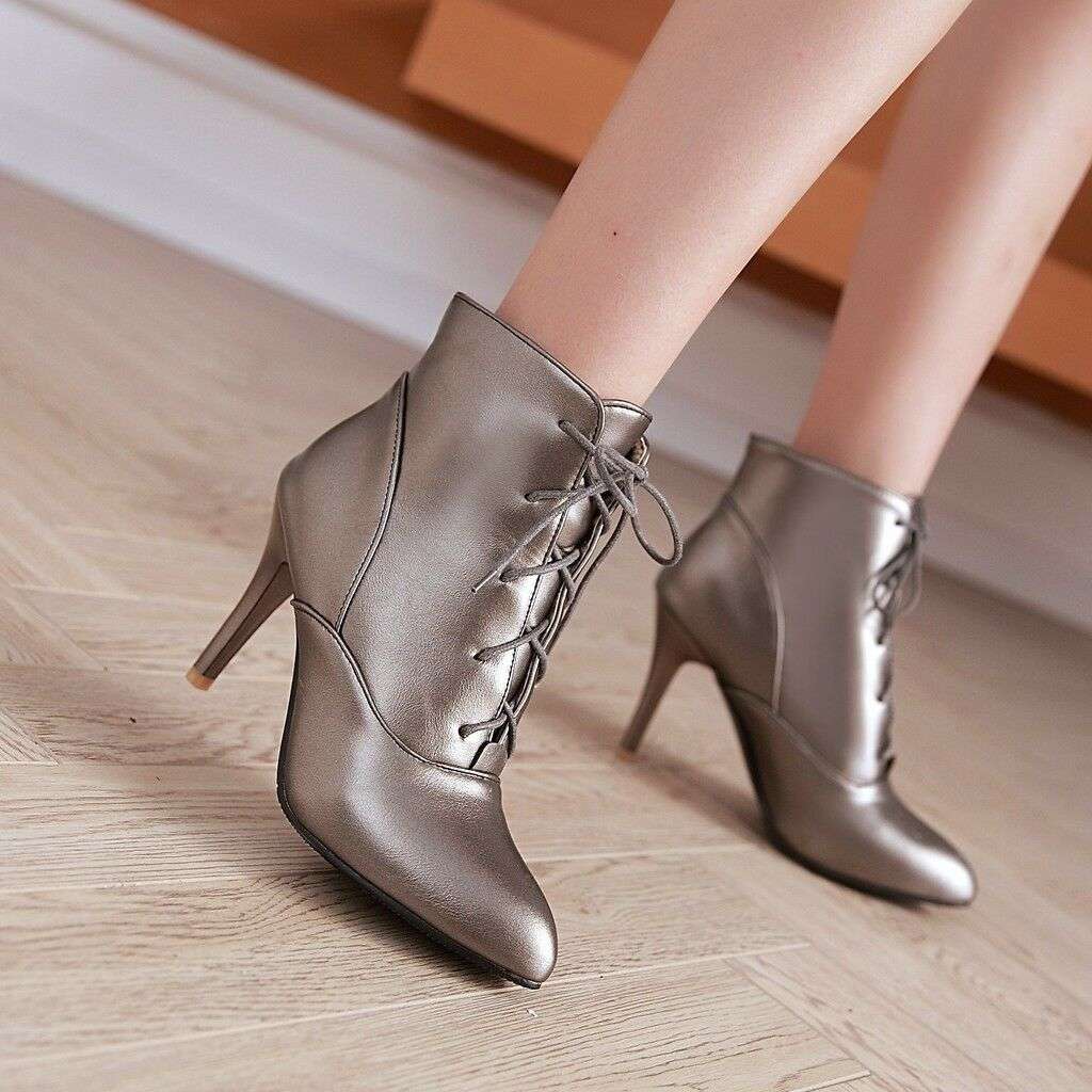 Womens stilettos pointy toe lace up ankle boots high heels party shoes plus size