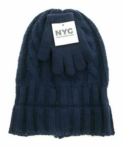 NYC-Underground-Childrens-Unisex-Beanie-and-Gloves-Navy-Blue-One-Size