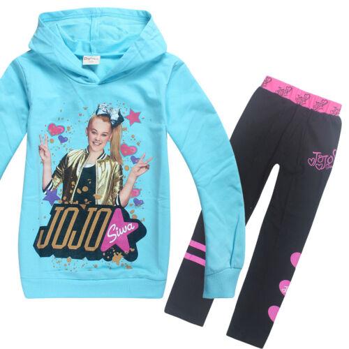 Girl Jojo Siwa Cotton Sportswear Hooded Hoodie Sweatshirt+Trousers Set Tracksuit