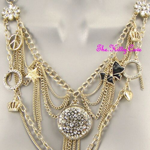Gold Gypsy Punk Rock Retro Multi-Chains Tassels Crystal Charms Feature Necklace