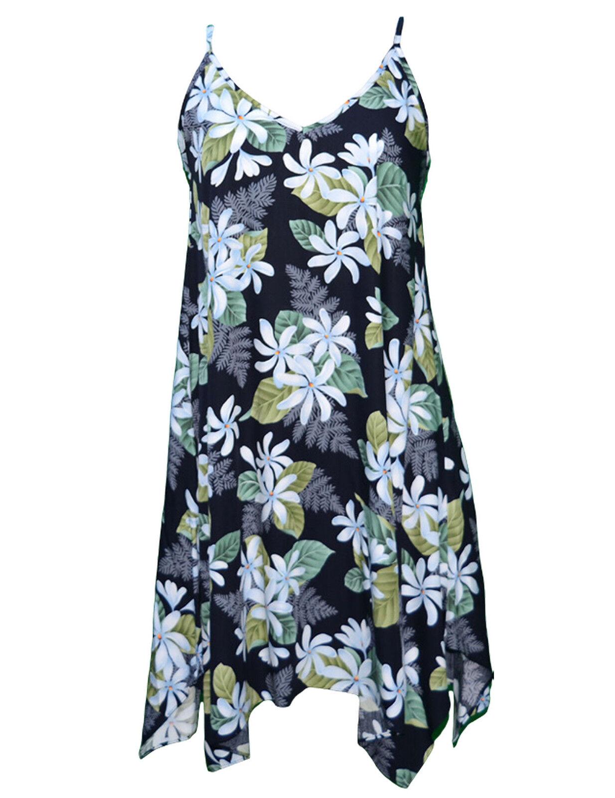 Ladies White Tiare Short Hawaiian Hawaiian Hawaiian Dress with Scarf Hem  RJ-W107O-ER 6e1a99