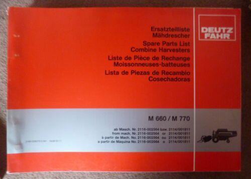 m770 repuestos lista Deutz Fahr cosechadoras m660