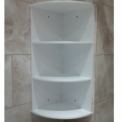 Bathroom corner shelf shelving unit white wooden cabinet 3 - White bathroom corner shelf unit ...